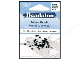 beading & jewelry making supplies: Beadalon Crimp Beads 2.5 mm Black .05 oz.