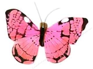 "floral & garden: Midwest Design Butterfly 2.5"" Feather Pink 1 pc"
