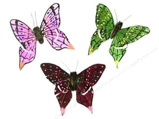 "floral & garden: Midwest Design Butterfly 3.25"" Feather Wire Assorted 1 pc"