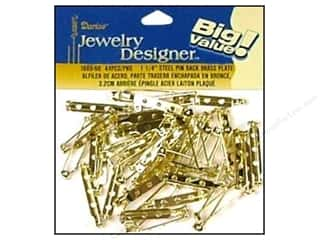 beading & jewelry making supplies: Darice Jewelry Designer Pin Backs 1 1/4 in. Brass 44 pc.