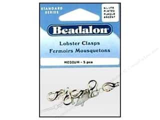 Lobster Clasp: Beadalon Lobster Clasps  Medium 15.3 mm Silver 5 pc.