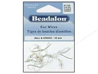 Beading & Jewelry Making Supplies: Beadalon Ear Wires Ball & Spring Nickel Free Silver plated 20 pc.