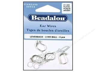 Beadalon Ear Wires Leverback Ball 3 mm Silver Plated 4 pc.