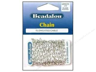 beading & jewelry making supplies: Beadalon Elongated Cable Chain 3.4 mm (.236 in.) Silver Plated 2 m (6.56 ft.)