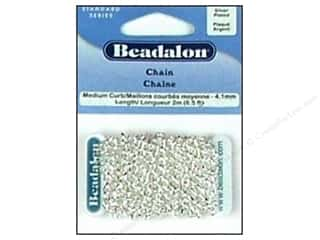 Beading & Jewelry Making Supplies: Beadalon Medium Curb Chain 4.1 mm (.161 in.) Silver Plated 2 m (6.56 ft.)