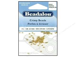 beading & jewelry making supplies: Beadalon Crimp Beads 2 mm Gold .05 oz.