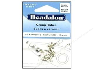beading & jewelry making supplies: Beadalon Crimp Tubes 1.8 mm Silver .05 oz.
