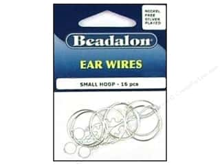Beadalon Ear Wires Bead Hoops Small 20 mm Nickel Free Silver Plated 16 pc.
