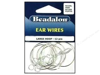 Beadalon Ear Wires Bead Hoops Large 30 mm Nickel Free Silver Plated 12 pc.