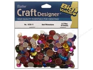 beading & jewelry making supplies: Darice Flat Back Rhinestones 30 grams Assorted Round