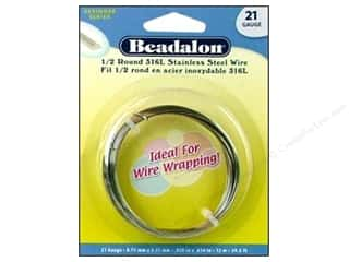 beading & jewelry making supplies: Beadalon Stainless Steel Wire Half Round 316L 21Ga 39.4 ft.