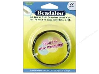beading & jewelry making supplies: Beadalon Stainless Steel Wire 1/2 Round 316L 22ga 49.2 ft.