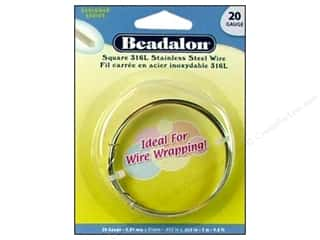 beading & jewelry making supplies: Beadalon 316L Stainless Steel Wrapping Wire 20 ga Square 9.8 ft.