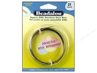 beading & jewelry making supplies: Beadalon 316L Stainless Steel Wrapping Wire Square 21 ga 14.8 ft.