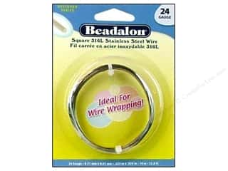 beading & jewelry making supplies: Beadalon 316L Stainless Steel Wrapping Wire Square 24 ga 32.8 ft.