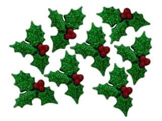 scrapbooking & paper crafts: Jesse James Dress It Up Embellishments Holiday Glitter Holly