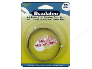 beading & jewelry making supplies: Beadalon 316L Stainless Steel Wrapping Wire Half Round 20 ga 29.5 ft.