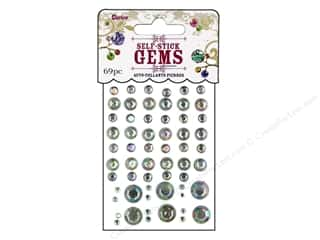 gems: Darice Stick On Rhinestones - Assorted Round 69 pc. Clear Aurora Borealis