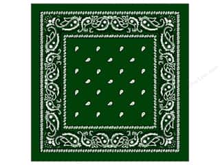 Scarf / Scarves: Darice Bandana 22 x 22 in. Hunter Green Paisley