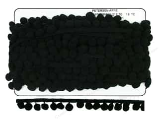 Cheep Trims Pom Fringe 1 in. x 18 yd. Black (18 yards)