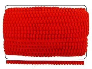 Cheep Trims Pom Pom Fringe 3/8 in. Red (36 yards)