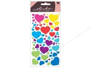 Sticko Metallic Stickers - Fun Colorful Hearts