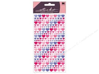 stickers: EK Sticko Stickers Vellum Purple And Pink Hearts
