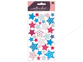 EK Sticko Stickers Metallic Red White Blue Stars