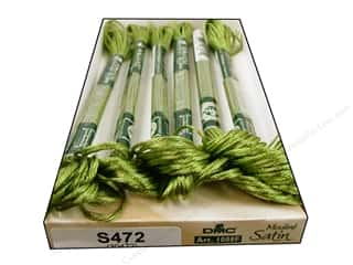 yarn & needlework: DMC Satin Embroidery Floss #S472 Tender Green (6 skeins)
