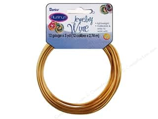 beading & jewelry making supplies: Darice Aluminum Jewelry Wire 12 Gauge Gold 3 yd.