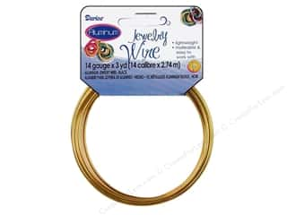 beading & jewelry making supplies: Darice Aluminum Jewelry Wire 14 Gauge Gold 3 yd.