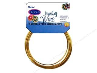 beading & jewelry making supplies: Darice Aluminum Jewelry Wire 16 Gauge Gold 3 yd.