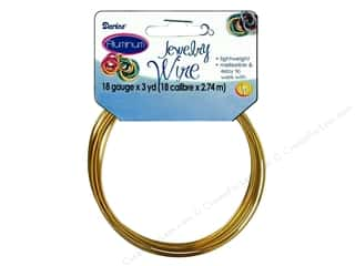 beading & jewelry making supplies: Darice Aluminum Jewelry Wire 18 Gauge Gold 3 yd.