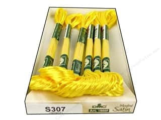 Embroidery floss: DMC Satin Embroidery Floss #S307 Citrus (6 skeins)