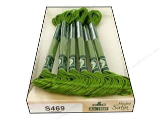 yarn & needlework: DMC Satin Embroidery Floss #S469 Olive Green (6 skeins)