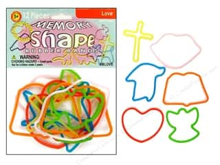 Pepperell Memory Rubber Bands Love 12 pc