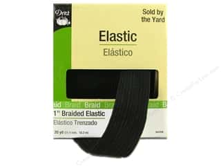 elastic: Dritz Braided Elastic 1 in x 20 yd Black (20 yards)