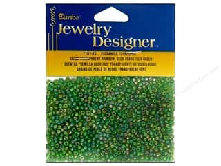 seed beads: Darice 10/0 Glass Seed Beads 20 gm. Transparent Green AB