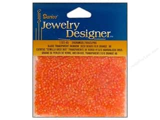 beading & jewelry making supplies: Darice 10/0 Glass Seed Beads 20 gm. Transparent Orange AB