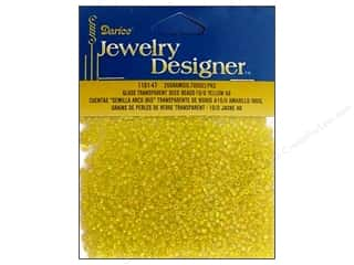 Darice 10/0 Glass Seed Beads 20 gm. Transparent Yellow AB
