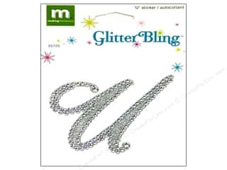 stickers: Making Memories Stickers Glitter Bling Monogram Script U