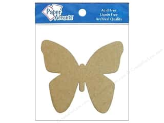 Paper Accents Chipboard Shape Butterfly 8 pc. Kraft