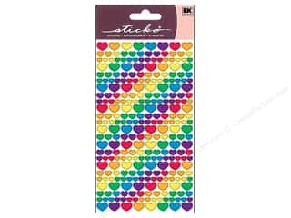 EK Sticko Stickers Metallic Rainbow Hearts