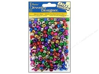 beading & jewelry making supplies: Darice Pony Beads 6 x 9 mm 380 pc. Assorted Metallic