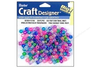 craft & hobbies: Darice Pony Beads 6 x 9 mm 360 pc. Assorted Transparent Aurora Borealis