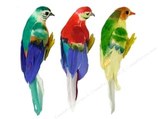 Midwest Design Artificial Birds 4 3/4 in. Feather Parrot Assorted 1 pc.