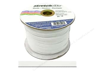 elastic: Stretchrite Braided Elastic Flat 3/8 in. x 75 yd White (75 yards)