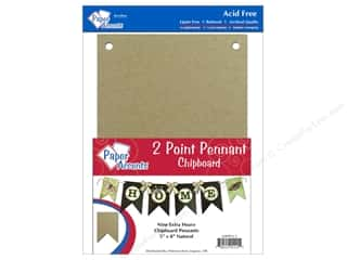 Paper Accents Chipboard Pennants 5 x 8 in Two Point 9 pc. Kraft