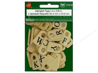 Pre-Painted Wood: Lara's Wood Painted Alphabet Tags 1 x 5/8 in. 52pc.