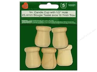 craft & hobbies: Lara's Wood Candle Cup 1 in. with 1/2 in. Hole 5 pc.